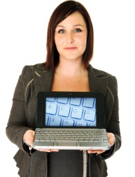businesswoman laptop blog