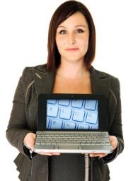 businesswoman laptop blog