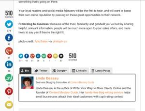 Example of social sharing buttons on a blog
